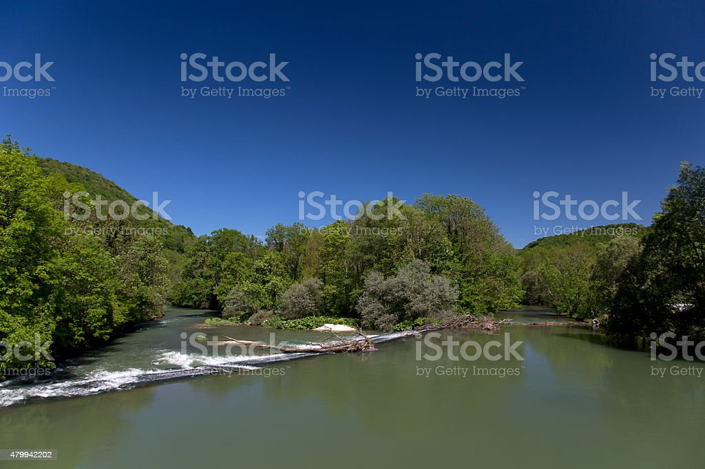 Weir in French river stock photo