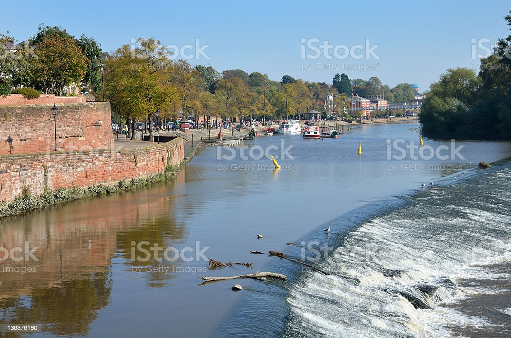 Weir on River Dee in English City of Chester royalty-free stock photo