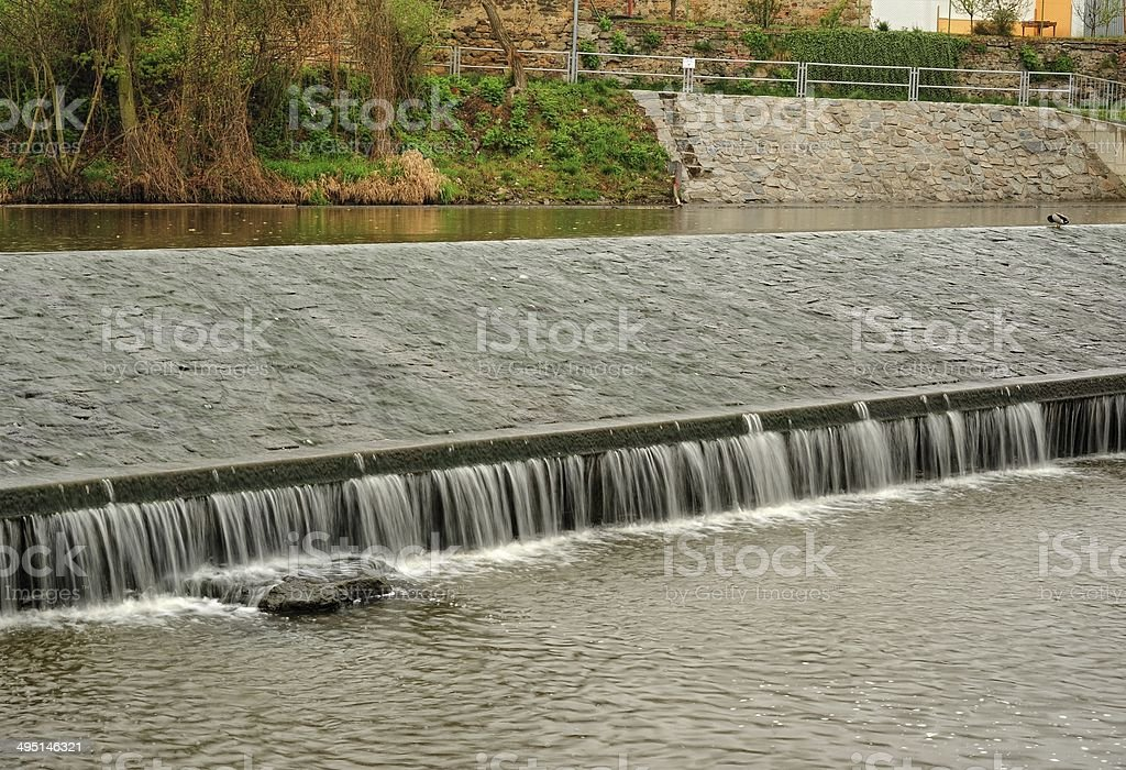 Weir on the River stock photo