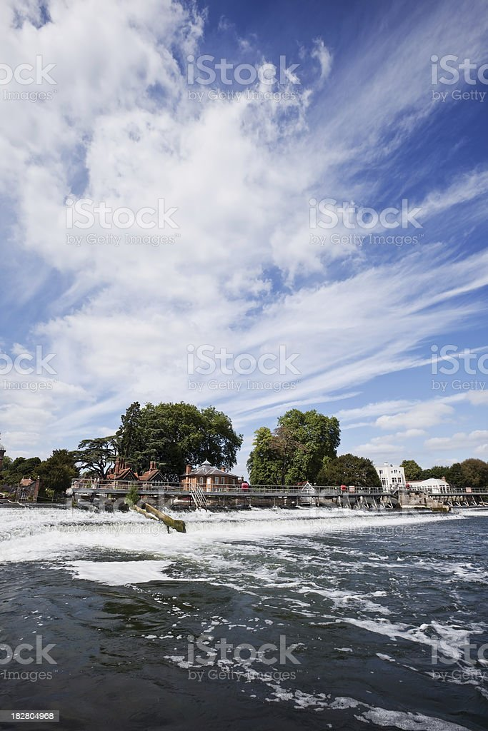 Weir on the River Thames at Marlow stock photo