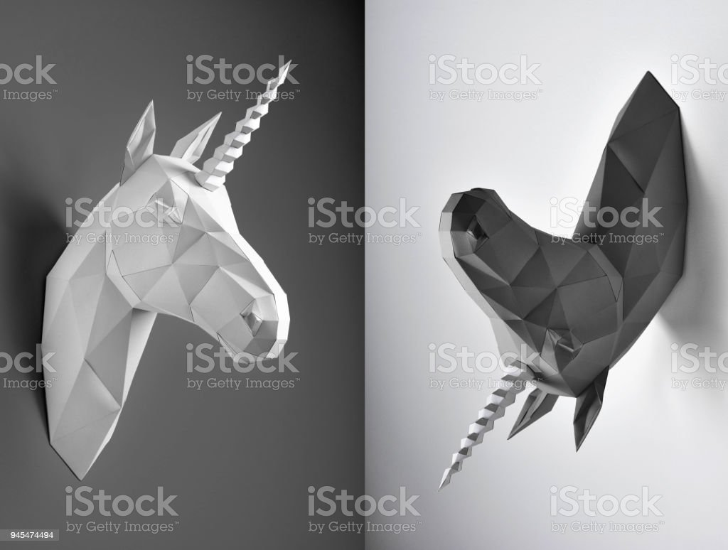 Weird collage of black and white unicorns. stock photo