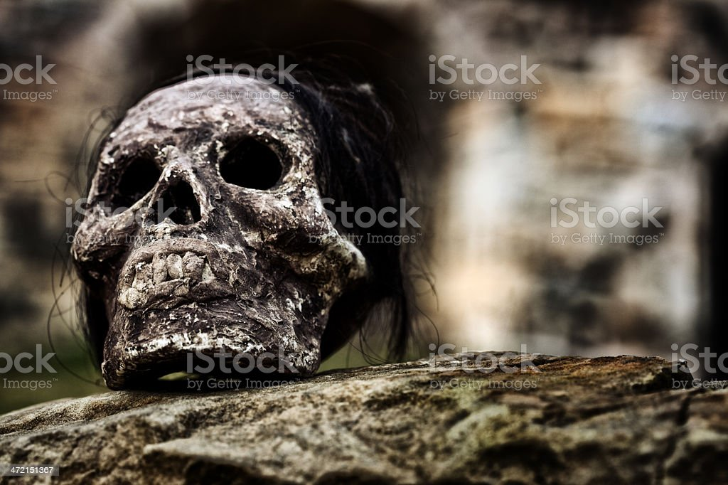 Weird Inca Skull Artifact stock photo