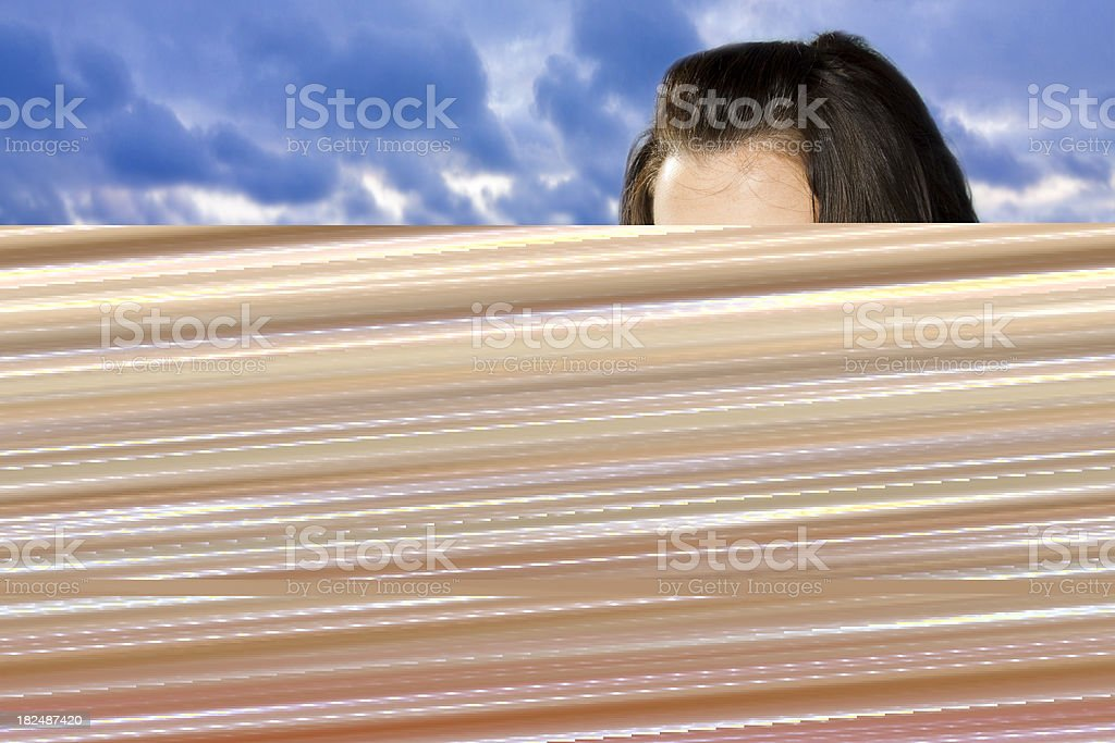 Weird storm looking picture with top of persons head royalty-free stock photo