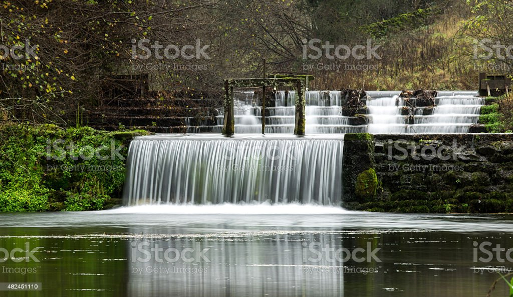 Weirs on the River Lathkill stock photo