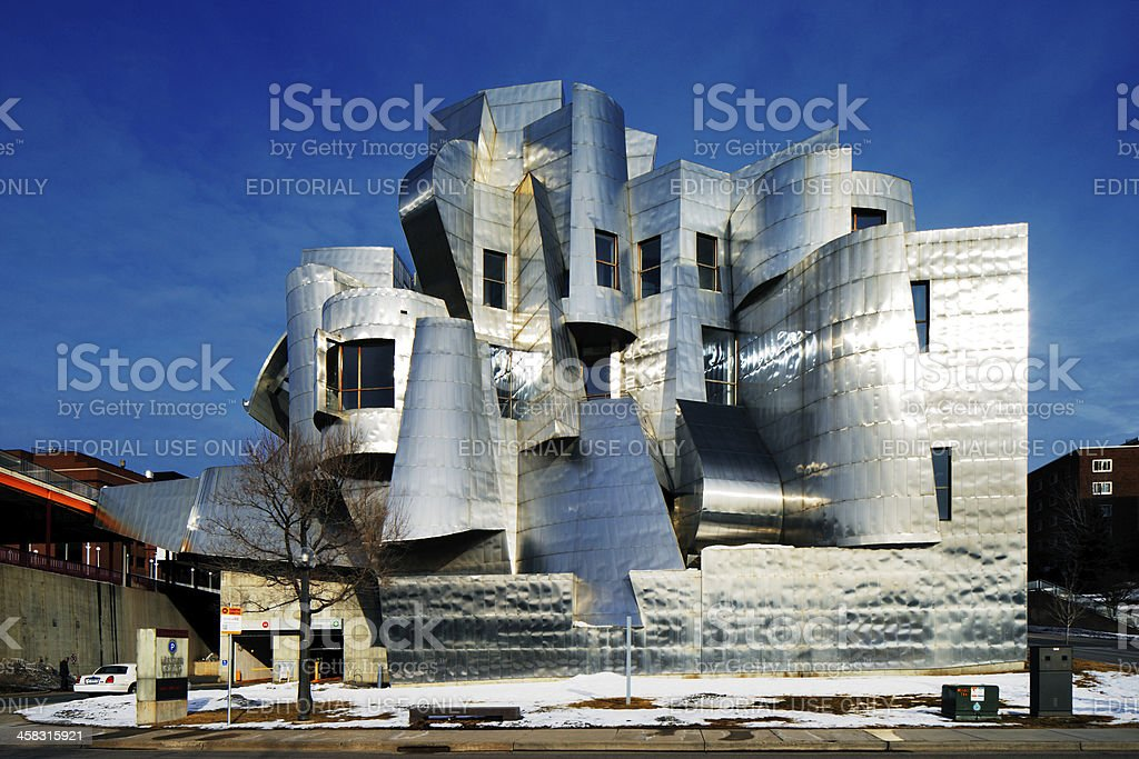 Weisman Art Museum on a cold winter morning royalty-free stock photo