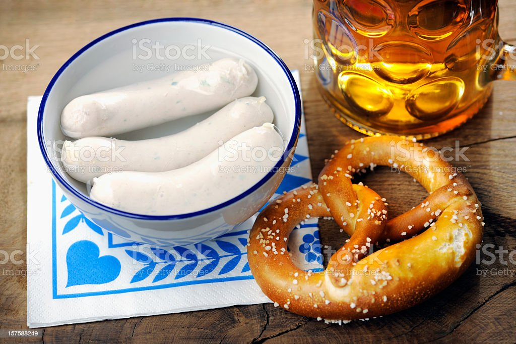 Weisswuerschte, Pretzel and beer stock photo