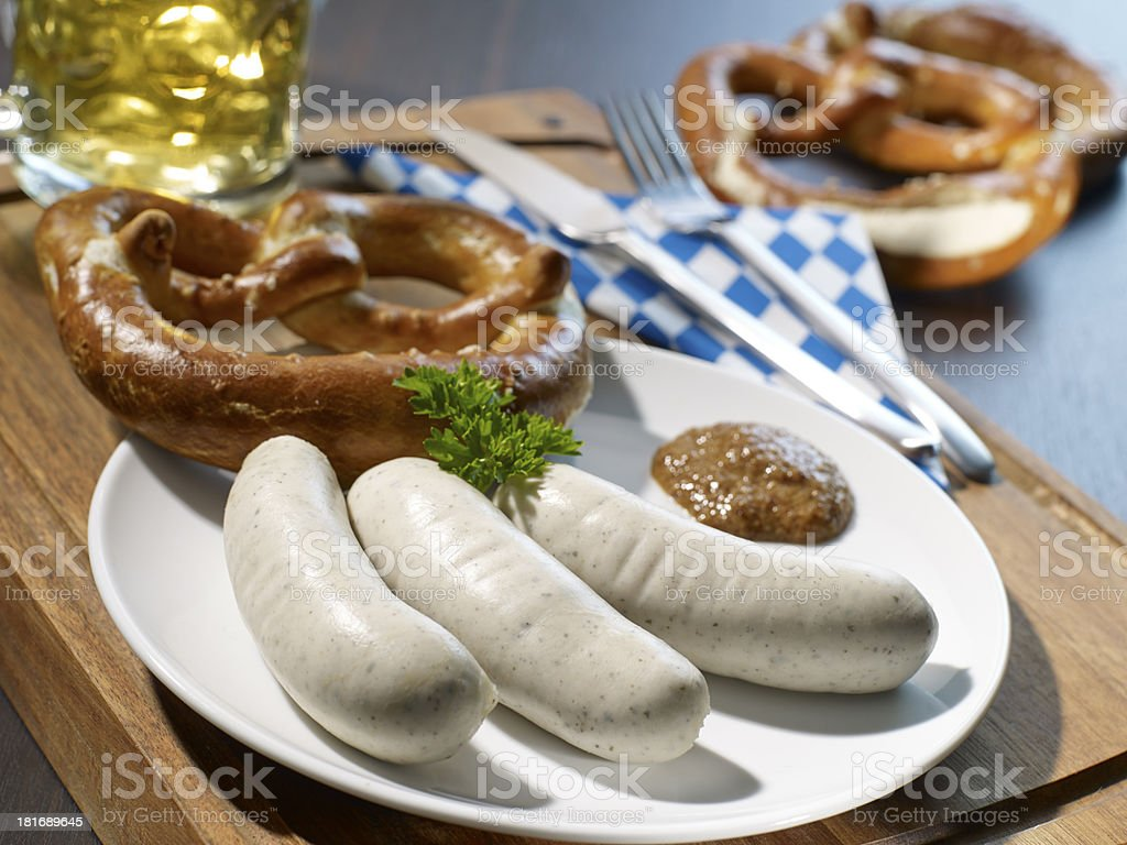 Weisswurst sausages on a plate stock photo