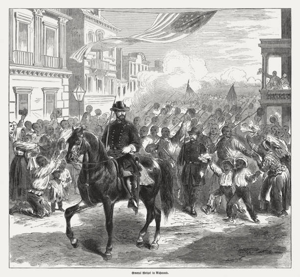 weitzel in richmond on april 3, wood engraving, published 1865 - acquaforte foto e immagini stock