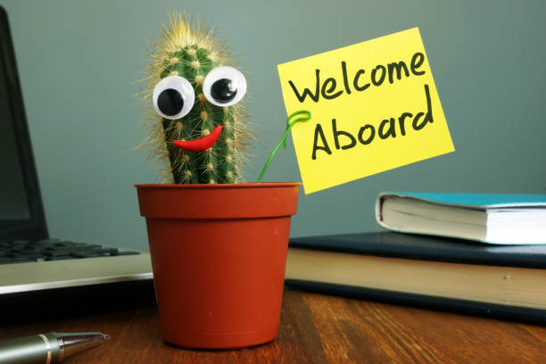 Welcome aboard concept. Funny cactus on workplace in the office. Welcome aboard concept. Funny cactus on workplace in the office. aboard stock pictures, royalty-free photos & images