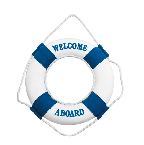 Welcome aboard isolated on white background decoration on the wall as a life buoy to the ship isolated on white background aboard stock pictures, royalty-free photos & images