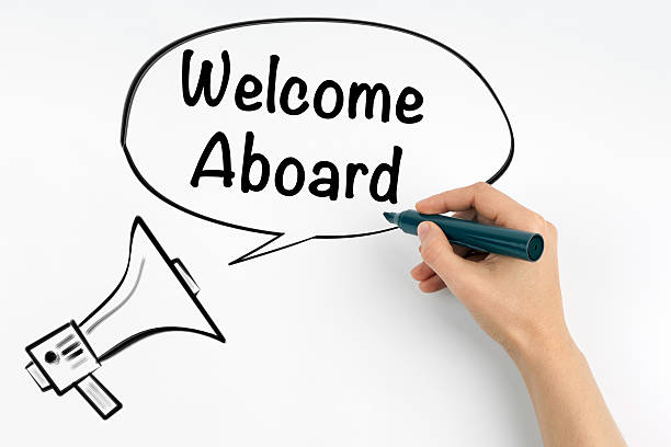 Welcome aboard Welcome aboard. Megaphone and text on a white background aboard stock pictures, royalty-free photos & images