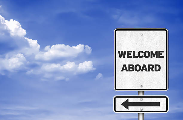 Welcome aboard - road sign concept Welcome aboard - road sign concept aboard stock pictures, royalty-free photos & images