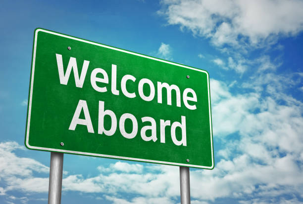 Welcome Aboard - road sign message stock photo