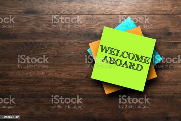 Welcome aboard the phrase is written on multicolored stickers on a picture id956960042?b=1&k=6&m=956960042&s=612x612&h=6xc xclhbk9jse 2jqt8pauu0fjba9b4mvtam ehitu=