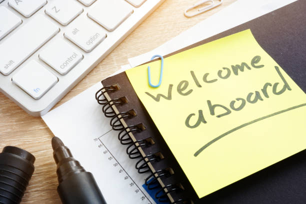 Welcome aboard written on a memo stick. Welcome aboard written on a memo stick. aboard stock pictures, royalty-free photos & images