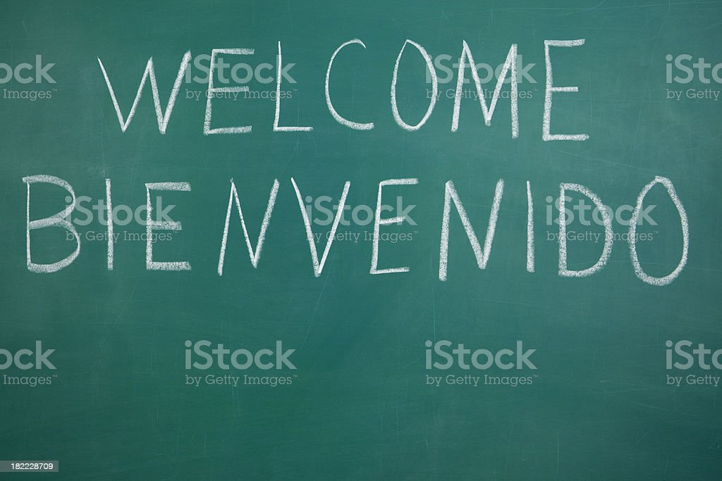 Welcome and Bienvenido on Chalkboard stock photo