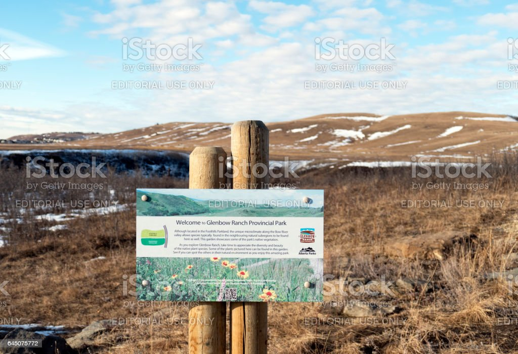 Welcome and information panel in the Glenbow Ranch Provincial Park,a provincial park located in the Bow Valley , between the city of Calgary and the town of Cochrane in Alberta,Canada stock photo