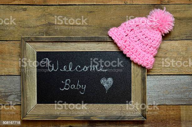 Welcome baby notice with pink knit cap picture id508167718?b=1&k=6&m=508167718&s=612x612&h=ycpo fdrotyvpnep9cpluxeaho3poiyidgfc3rxsso0=