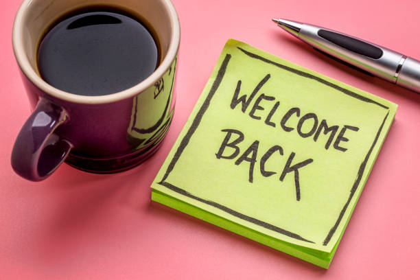 welcome back on a sticky note - back stock pictures, royalty-free photos & images