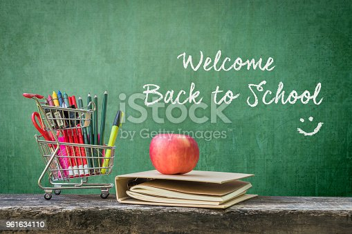 istock Welcome back to school happy with Shopping cart, student supplies, apple on dark old wood and  green chalkboard background 961634110