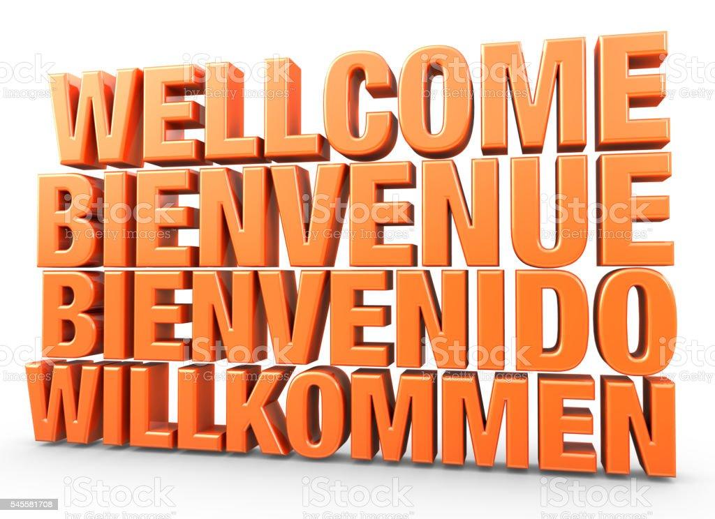welcome bienvenue bienvenido willkommen 3d render illustration letters writing stock photo