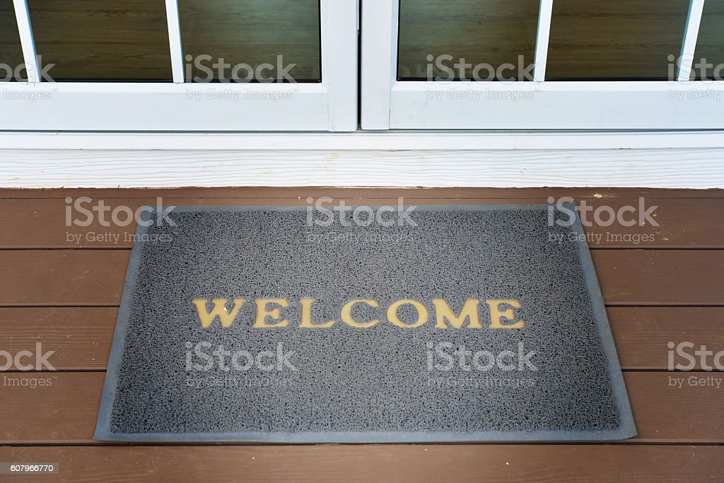 welcome carpet stock photo