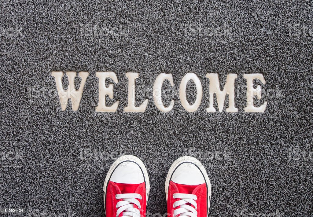 Welcome carpet. stock photo