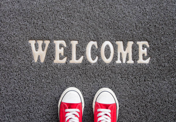 Welcome carpet. - foto stock