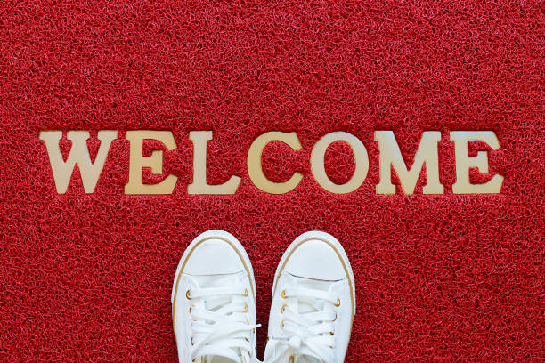 welcome carpet. - greeting stock pictures, royalty-free photos & images