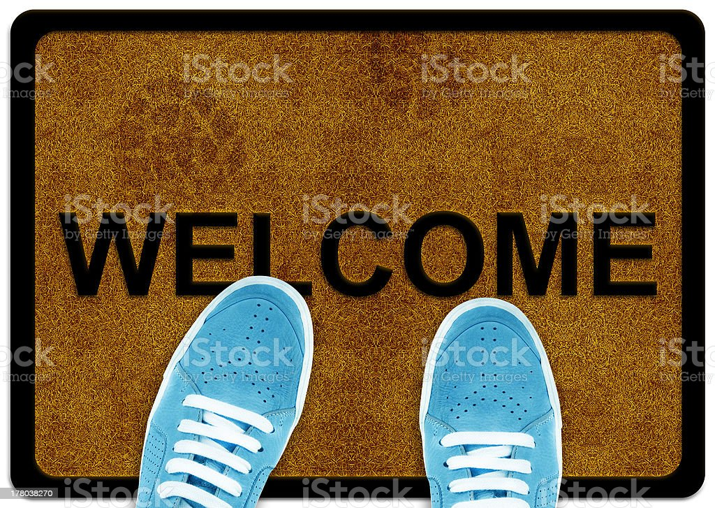 welcome cleaning foot carpet stock photo