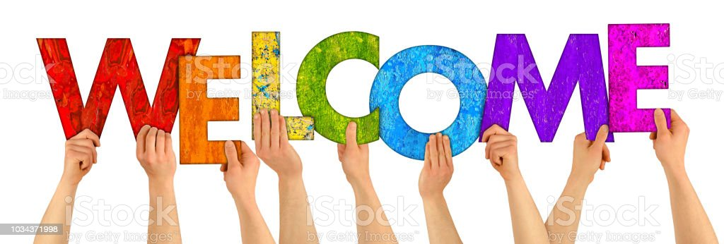 welcome colorful wooden letters stock photo