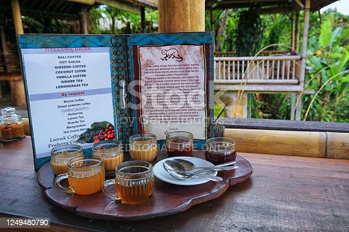 Kintamani, Bali - November 24th, 2017: Welcome drink serve in one of the coffee and tea making stall, Manik Abian. The special drink is Luwak coffee which said to be low acid and low caffiene content