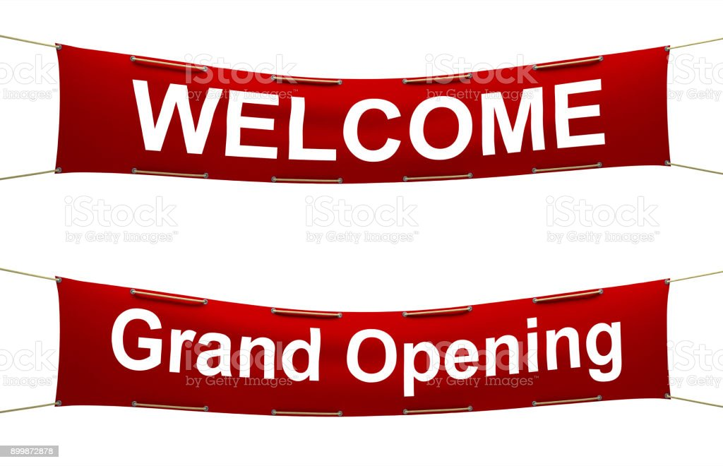 Welcome fabric banners stock photo
