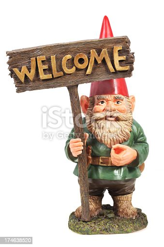 Welcome Garden Gnome on a white background.