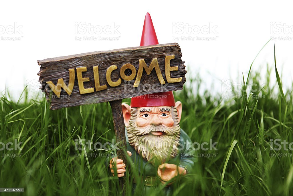 Welcome Garden Gnome royalty-free stock photo