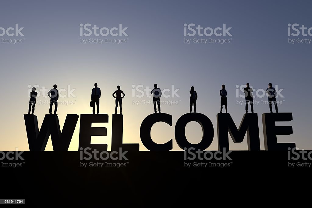 Welcome group of peole stock photo