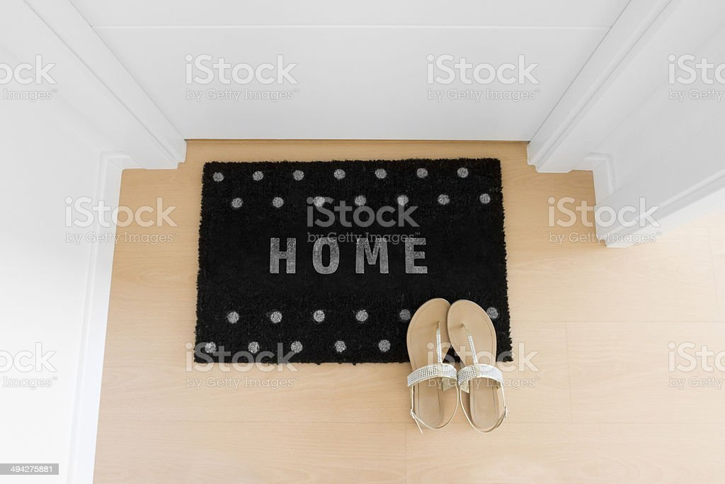 Welcome home black mat. House stock photo