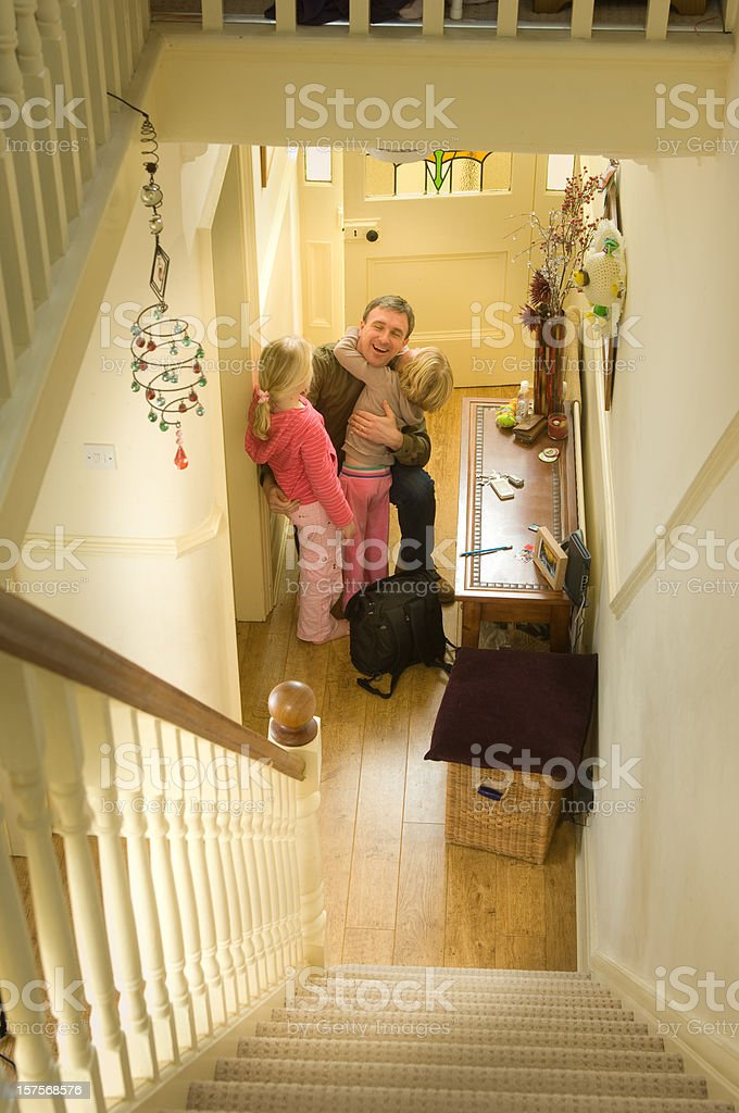 welcome home daddy royalty-free stock photo