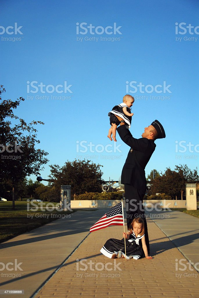 Welcome Home Daddy stock photo
