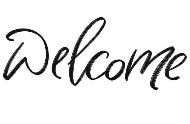 Welcome home hangdrawing calligraphy, isolated on white background. Welcome home hangdrawing calligraphy, isolated on white background. calligraphy stock pictures, royalty-free photos & images