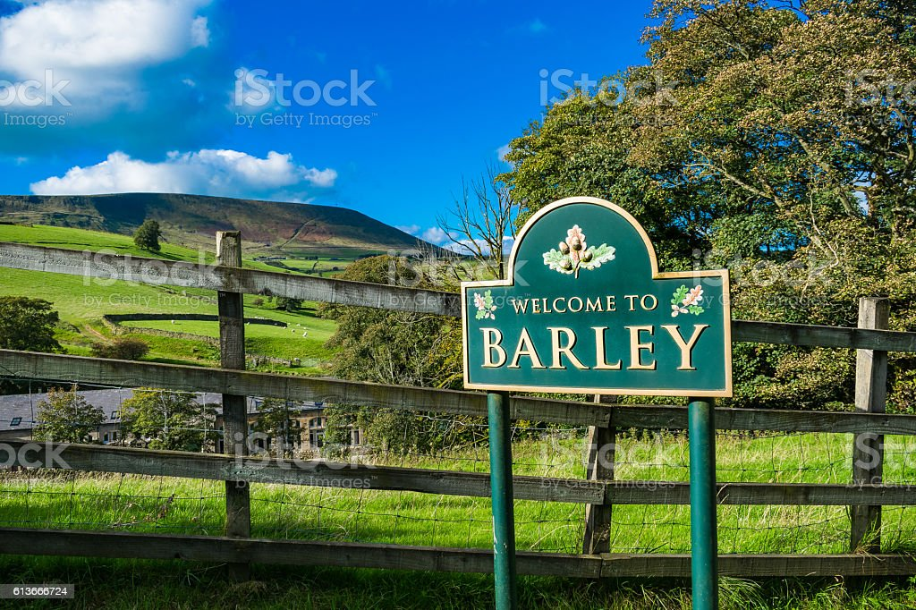 Welcome in Barley - Lancashire stock photo