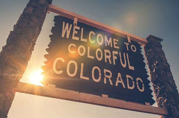 Welcome in Colorado Sign Welcome in Colorado State Entrance Wooden Welcome Sign. Colorado, United States. vail colorado stock pictures, royalty-free photos & images