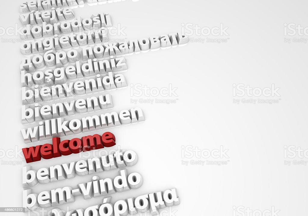 Welcome in different languages stock photo