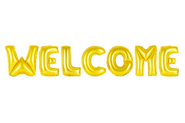 welcome in english alphabet from yellow balloons stock photo