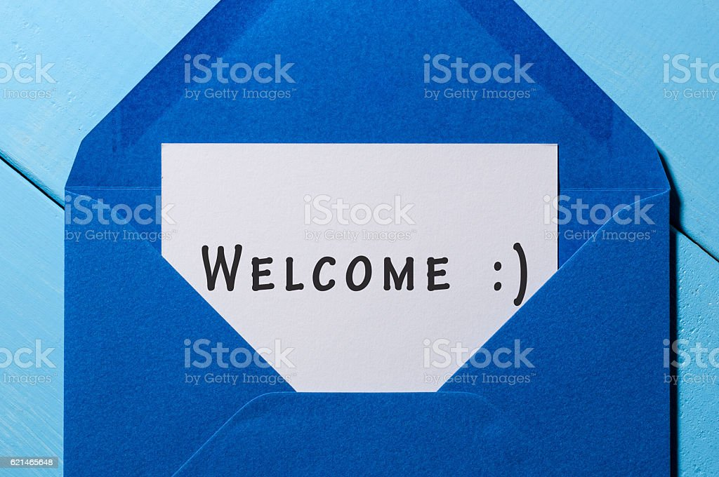 Welcome inscription. Hand drawn letter in blue envelope - foto de acervo