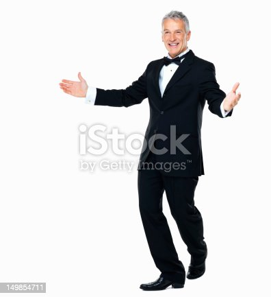 Full-length of a smartly dressed man presenting to an audience isolated on white background