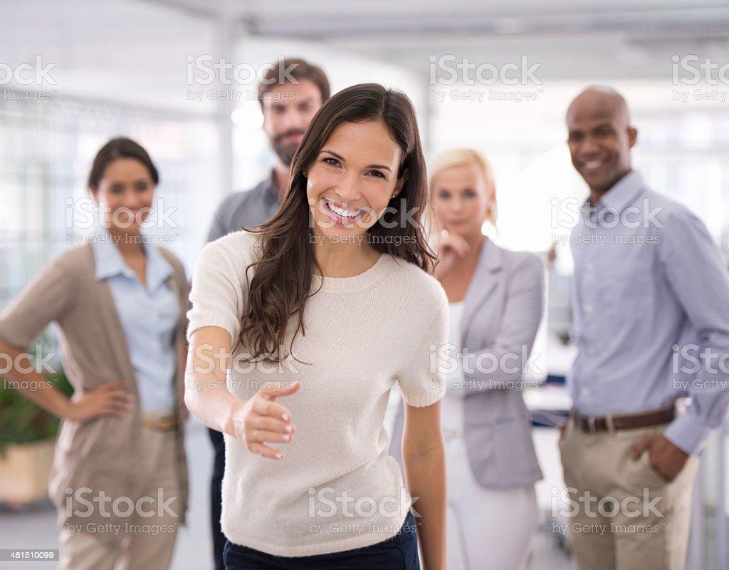 Willkommen, lassen Sie mich Ihnen etwas über das team Lizenzfreies stock-foto