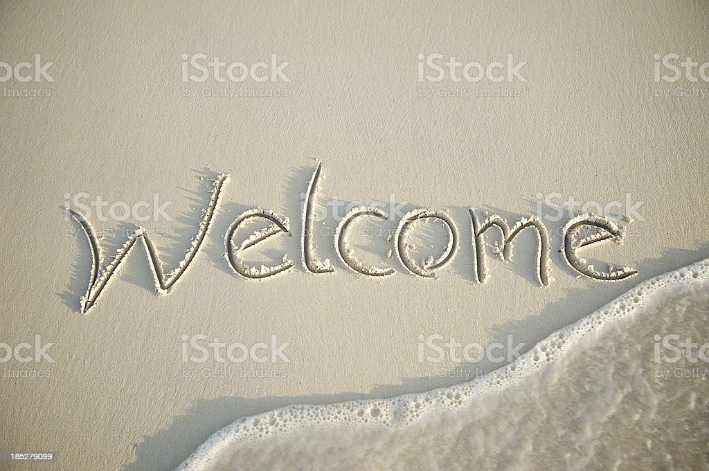 Welcome Message in Smooth Sand with Wave royalty-free stock photo