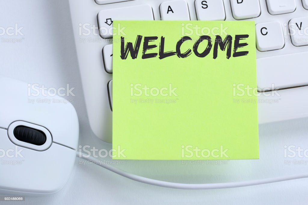 Welcome new employee colleague refugees refugee immigrants computer business stock photo