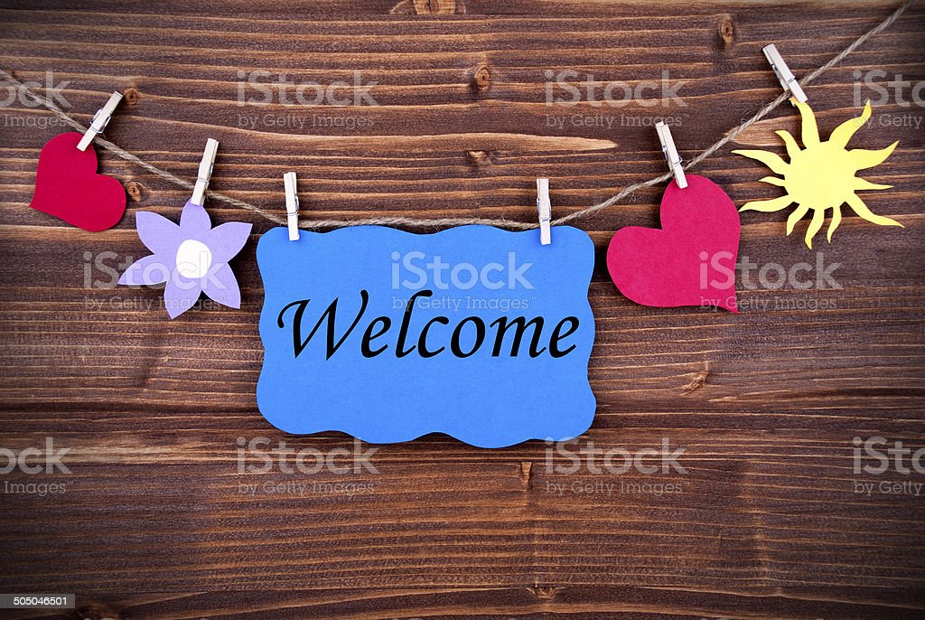 Welcome on a Blue Label stock photo
